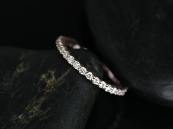 Rosados Box Alice 14kt Rose Gold Classic Diamond ALMOST Eternity Band