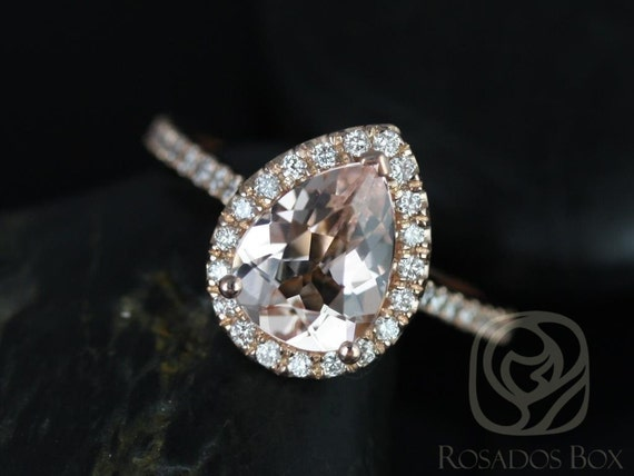 Tabitha 9x7mm 14kt Rose Gold Morganite Diamonds Dainty Thin Micro Pave Pear Halo Engagement Ring,Rosados Box