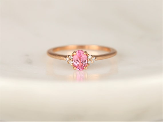 Juniper 6x4mm 14kt Rose Gold Blush Pink Sapphire Diamonds Dainty Oval Cluster 3 Stone Stack Ring,Rosados Box