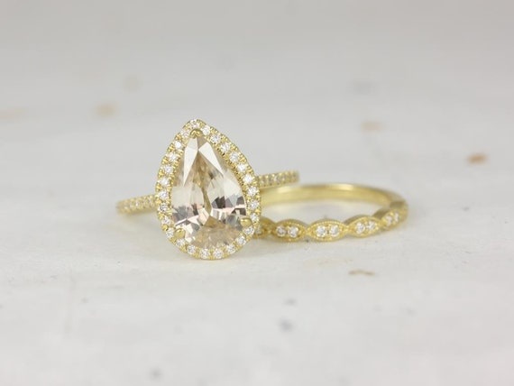 Ready to Ship Tabitha 3.94cts & Christie 18kt Gold Champagne Zircon Diamonds Dainty Art Deco Pear Halo Wedding Set Rings,Rosados Box