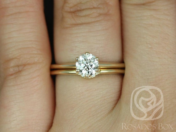 Rosados Box Ready to Ship Conflict Free Skinny Webster 0.70cts Diamond 14kt Yellow Gold Six-Prong With Luna Horseshoe Wedding Set Rings