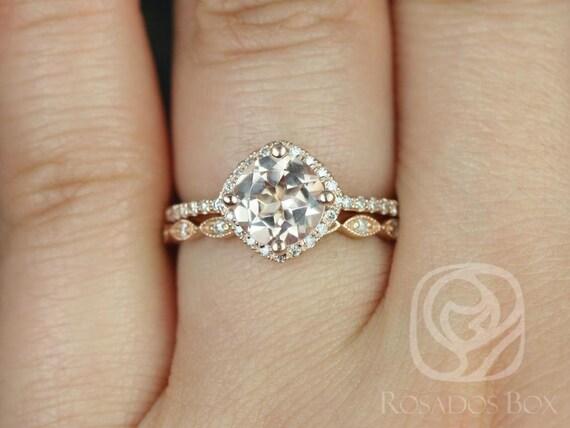 Kitana 7mm & Ultra Petite Leah 14kt Rose Gold Morganite Diamond Dainty Pave Kite Cushion Halo Wedding Set Rings,Rosados Box