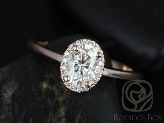 Rosados Box Ready to Ship Celeste 7x5mm 14kt Rose Gold Oval Forever One Moissanite Diamonds Pave Halo Engagement Ring