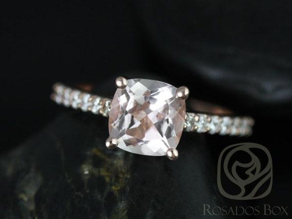 Rosados Box Tiffani 7mm 14kt Rose Gold Cushion Morganite and Diamonds Cathedral Engagement Ring