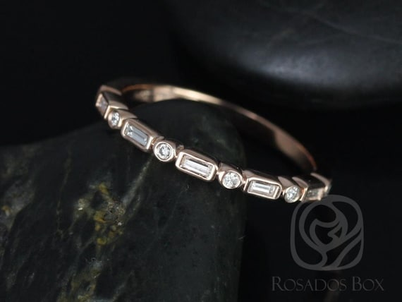 Rosados Box Ready to Ship Ivanna 14kt Rose Gold Round & Baguette Diamonds WITHOUT Milgrain HALFWAY Eternity Band