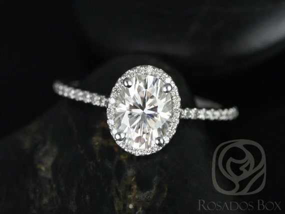 1.50cts Ready to Ship Rebecca 8x6mm 14kt White Gold Forever One Moissanite Diamond Dainty Micropave Oval Halo Engagement Ring,Rosados Box