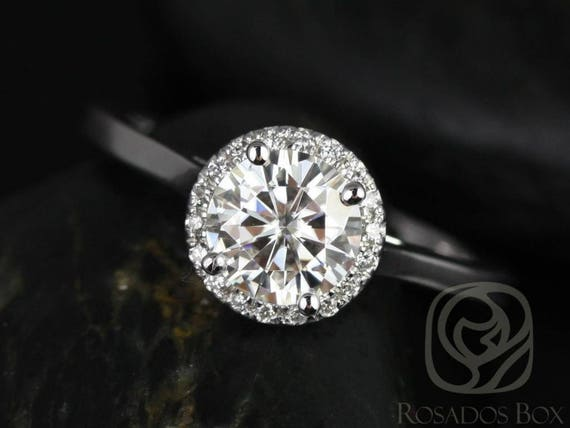 SALE Rosados Box Ready to Ship Amerie 5.50mm 14kt White Gold Round FB Moissanite and Diamonds Halo Engagement Ring