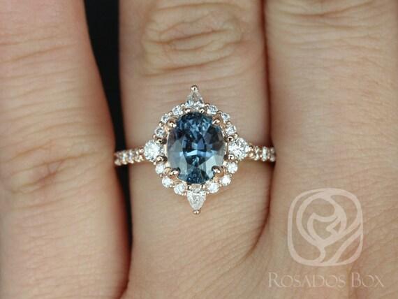 Rosados Box Jadis 2.15cts 14kt Rose Gold Oval Denim Blue Sapphire and Diamonds Star Halo Engagement Ring
