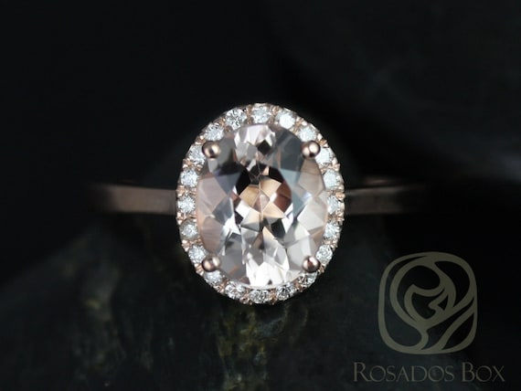 Rosados Box Charlotte 10x8mm Original Size 14kt Rose Gold Oval Morganite and Diamonds Halo Engagement Ring