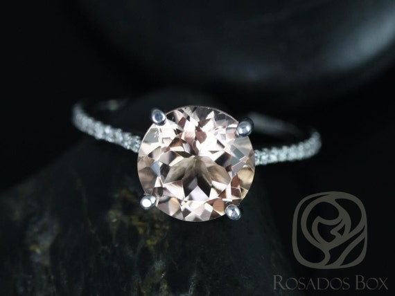 Rosados Box Ready to Ship Eloise 10mm 14kt White Gold Round Morganite Diamonds Thin Cathedral Solitaire Accent Engagement Ring
