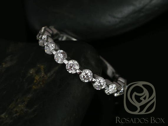 Original Naomi/Original Bubble & Breathe 14kt White Gold Diamond Dainty Single Prong Floating ALMOST Eternity Band Ring,Rosados Box