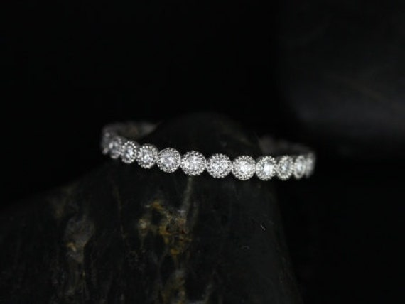 Ready to Ship Petite Bubbles 14kt White Gold Diamond Bezel WITH  Milgrain FULL Eternity Band Dainty Ring,Rosados Box