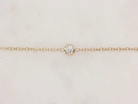 Ultra Dainty Diamond Bracelet,Petite Small Solitaire Diamond Bracelet,14kt Yellow Gold,Brooke,Rosados Box