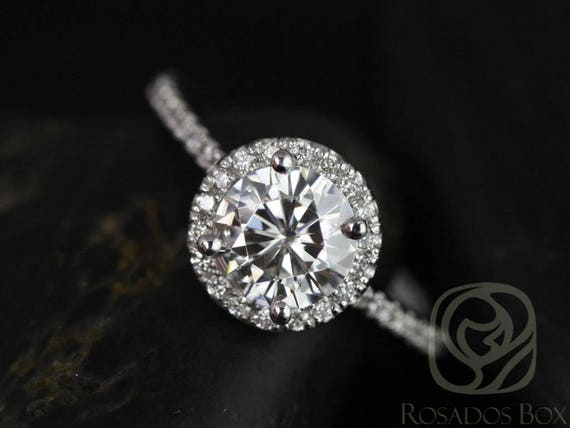 SALE Rosados Box Ready to Ship Kimberly 6.5mm Platinum Round FB Moissanite Diamonds Thin Pave Halo Engagement Ring