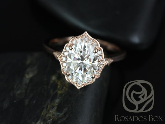 2ct Mae 9x7mm 14kt Rose Gold Forever One Moissanite Diamond Vintage Art Deco Halo WITHOUT Milgrain Oval Engagement Ring,Rosados Box