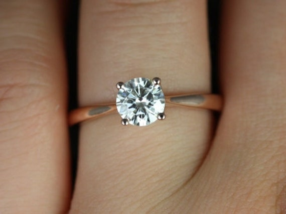 Rosados Box Flora 6mm 14kt Rose Gold Round F1- Moissanite Tulip Cathedral Solitaire Engagement Ring