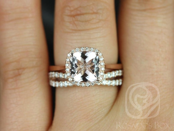 Rosados Box Roxie 8mm & Lima 14kt Rose Gold Cushion Morganite and Diamonds Halo Wedding Set