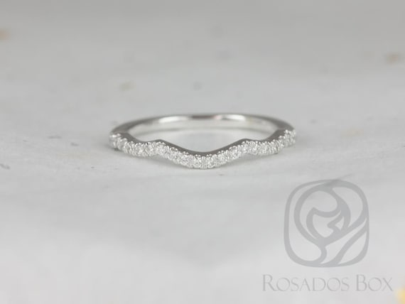 Matching Band to Tressa/Tyra/Tilly 14kt Solid White Gold Thin Diamonds Curved  HALFWAY Eternity Ring, Rosados Box