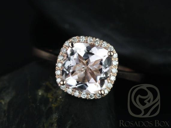 Ready to Ship Roxie 8mm 14kt YELLOW Gold  Morganite Diamonds Micropave Cushion Halo Engagement Ring,Rosados Box