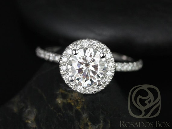 1ct Round Forever One Moissanite Diamonds Micropave Halo Engagement Ring,14kt Solid White Gold,Callie 6.5mm,Rosados Box