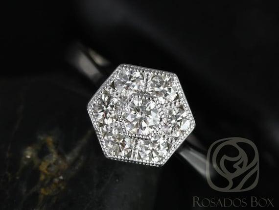 Rosados Box Mosaic Medio Size 14kt White Gold WITH Milgrain Diamonds Cluster Ring
