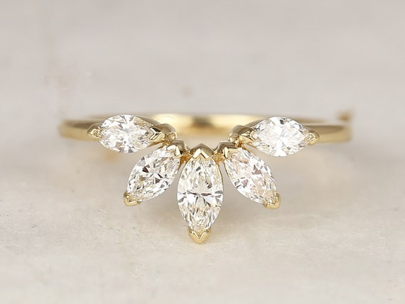 Cardi 14kt Solid Gold Marquise Diamonds Minimalist Fan Tiara Nesting Ring,Rosados Box