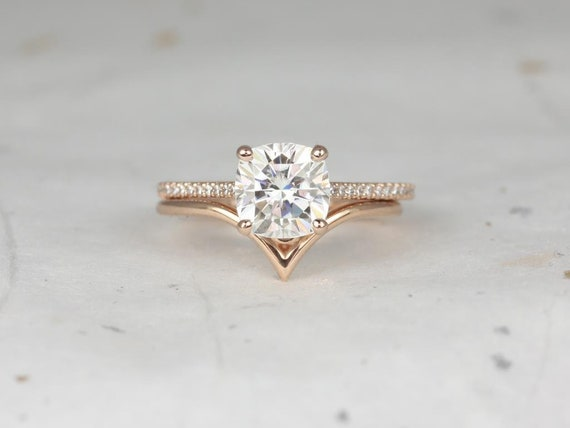 2cts Marcelle 7.5mm & Sloane 14kt Rose Gold Forever One Moissanite Diamond Cathedral Cushion Solitaire Wedding Set Rings,Rosados Box