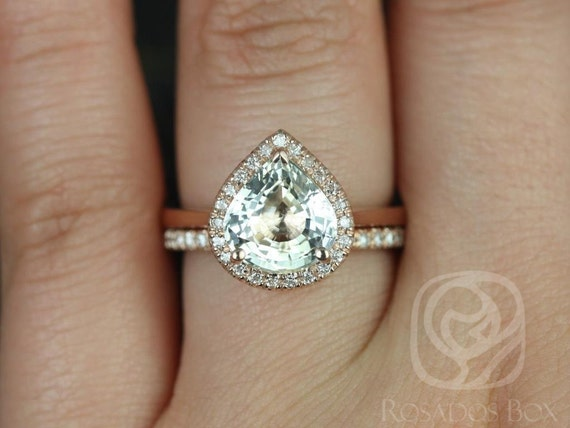 2.86ct Wide Pear Butter Champagne Sapphire Diamond Halo Wedding Set Rings,14kt Rose Gold,Ready to Ship Karma 2.86cts & Pernella,Rosados Box