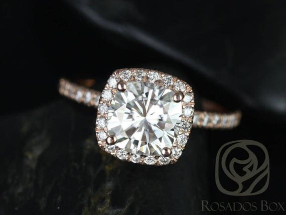 SALE Rosados Box Ready to Ship Mariah 7.5mm 14kt Rose Gold Cushion FB Moissanite and Diamond Halo Engagement Ring