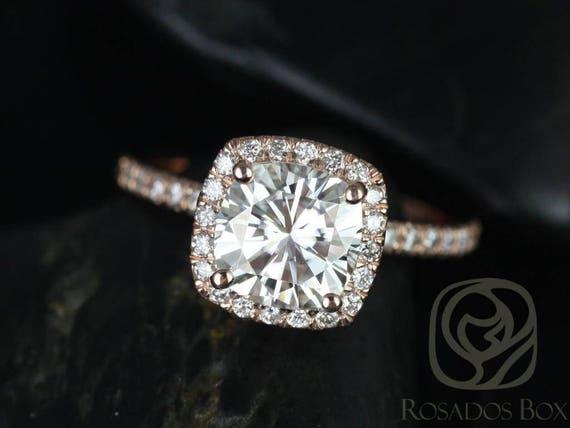 SALE Rosados Box Ready to Ship Mariah 7.5mm 14kt Rose Gold Cushion FB Moissanite and Diamond Halo Engagement Ring