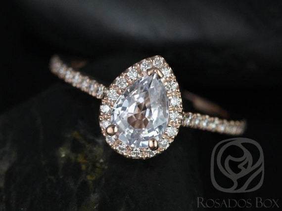Rosados Box Tabitha 7x5mm 14kt Rose Gold Pear White Sapphire and Diamonds Halo Engagement Ring