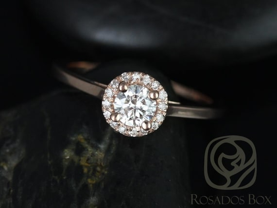 Amerie 4.5mm 1/3cts 14kt Rose Gold Round Diamond Dainty Round Halo Engagement Ring,Rosados Box