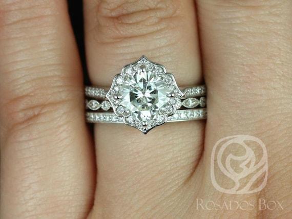 Rosados Box Rori 7mm, Ult Pt Gwen, & Victoria 14kt Gold Cushion F1- Moissanite Diamond Halo WITHOUT Milgrain TRIO Wedding Set