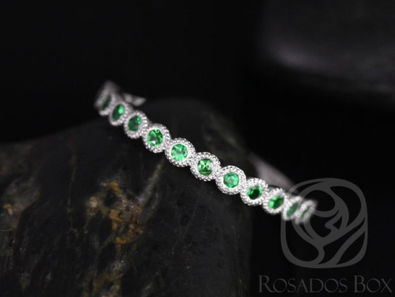 Petite Bubbles 14kt Solid Gold Tsavorite Green Garnet Bezel WITH Milgrain HALFWAY Eternity Band Dainty Ring,Rosados Box