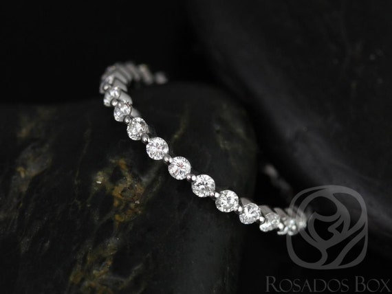 Petite Naomi,Petite Bubble & Breathe Band,Platinum Diamond Dainty Minimalist Single Prong Floating ALMOST Eternity Ring,Rosados Box