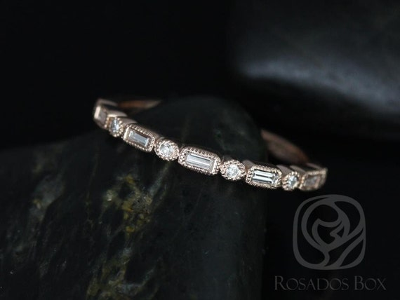 Rosados Box Ivanna 14kt Rose Gold Round & Baguette Diamonds WITH Milgrain HALFWAY Eternity Band