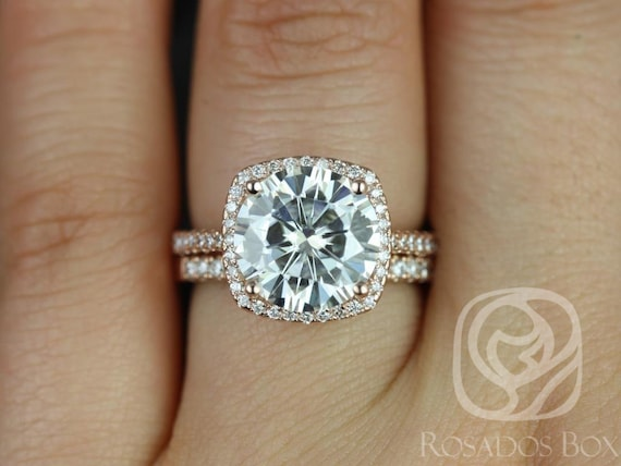 Rosados Box 10mm 14kt Rose Gold Round Forever One Moissanite Diamond Cushion Halo Classic Wedding Set Rings