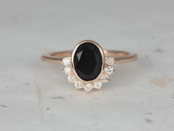 8x6mm Oval Black Onyx Diamonds Bezel Crescent Sunrays Half Halo Engagement Ring,14kt Solid Rose Gold,Oksana 8x6mm,Rosados Box