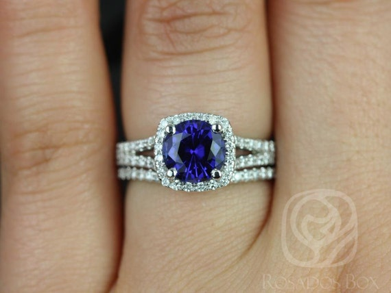 Rosados Box Pasley 7mm 14kt White Gold Blue Sapphire and Diamonds Cushion Halo Split Wedding Set