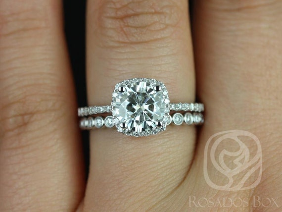 Rosados Box Barra 7mm & Petite Bubbles 14kt Forever One Moissanite Diamonds Cushion Halo Wedding Set Rings