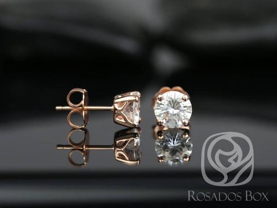 Rosados Box Donna 6mm 14kt Rose Gold Round F1- Moissanite Leaf Gallery Basket Stud Earrings