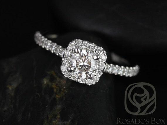 Rosados Box Mikena 1/2ct 14kt White Gold Diamond Cushion Halo Engagement Ring