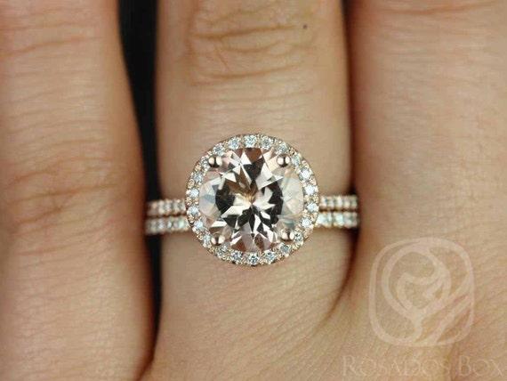Rosados Box DIAMOND FREE Kubian 9mm 14kt Rose Gold Round Morganite and White Sapphires Halo Classic Wedding Set