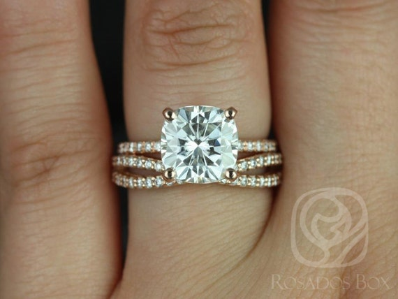 3.30ct Heidi 9mm & Skinny Lima 14kt Rose Gold Cushion Forever One Moissanite Diamond Infinity Dainty Pave Wedding Set Rings,Rosados Box