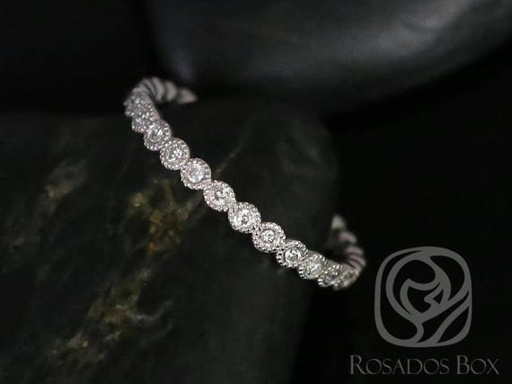 Rosados Box Ready to Ship Petite Bubbles 14kt White Gold WITH Hand Milgrain Beading Diamond FULL Eternity Band