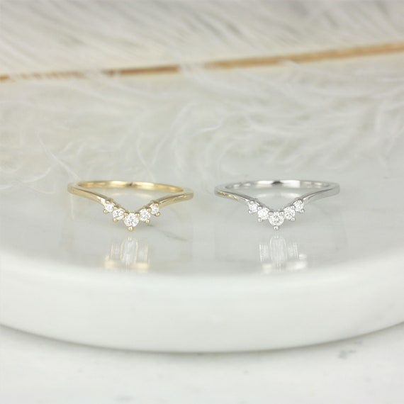 Addie 14kt Solid Gold Diamonds Dainty Chevron Tiara Crown Curved Unique Nesting Ring,Stacking Ring,Rosados Box