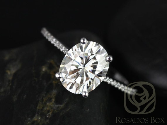 Rosados Box Blake 10x8mm 14kt White Gold 3cts Oval Forever One Moissanite Diamonds Dainty Solitaire Accent Stone Engagement Ring