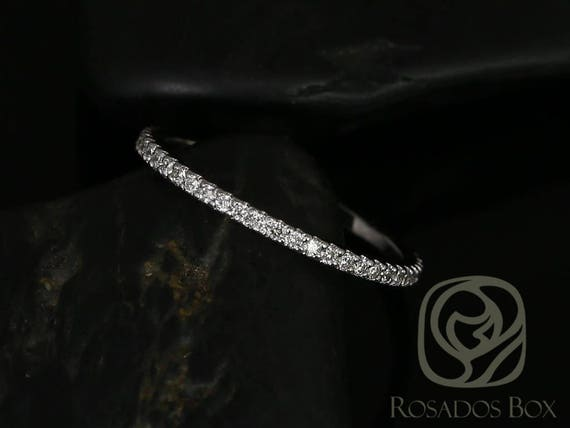 Rosados Box Kierra 14kt White Gold Thin French Pave Diamond Halfway Eternity Band