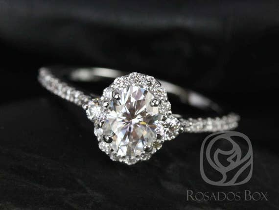 Rosados Box Bridgette 7x5mm 14kt White Gold Oval F1- Moissanite and Diamonds Halo Engagement Ring