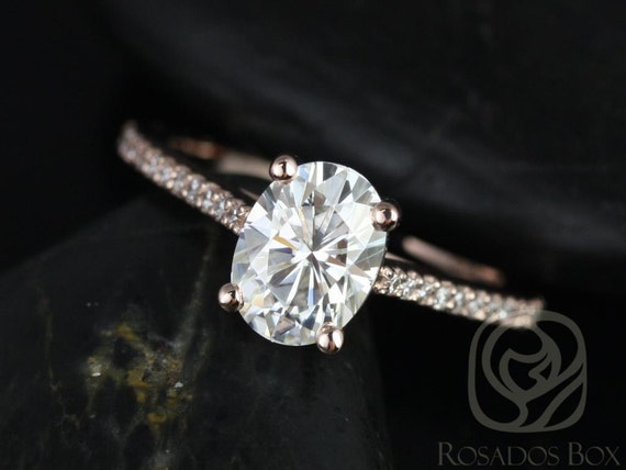 1.50cts Oval Forever One Moissanite Diamonds Thin Cathedral Engagement Ring , 14kt Solid Rose Gold , Blake 8x6mm , Rosados Box